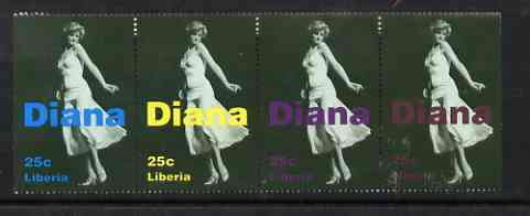 Liberia 1997 Princess Diana Memorial perf strip of 4 values (Full length in flowing dress) unmounted mint