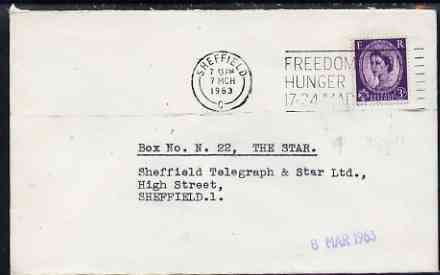 Postmark - Great Britain 1963 cover bearing slogan cancellation for Freedom From Hunger Week