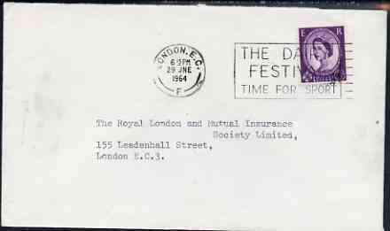 Postmark - Great Britain 1964 cover bearing illustrated slogan cancellation for The Dairy Festival - Time for Sport