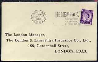 Postmark - Great Britain 1962 cover bearing illustrated slogan cancellation for 'Remember - Road Accidents can be caused by people like you'