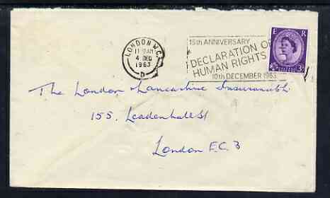 Postmark - Great Britain 1963 cover bearing illustrated slogan cancellation for 15th Anniversary of Declaration of Human Rights
