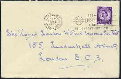 Postmark - Great Britain 1963 cover bearing illustrated slogan cancellation for 'Underground - A Century in London's Service'