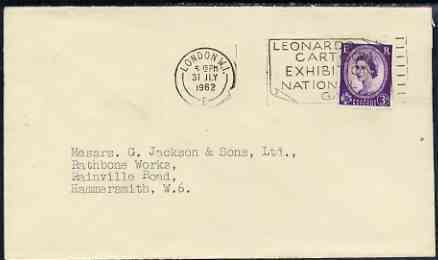 Postmark - Great Britain 1962 cover bearing illustrated slogan cancellation for 'Leonardo Cartoon Exhibition, National Gallery'