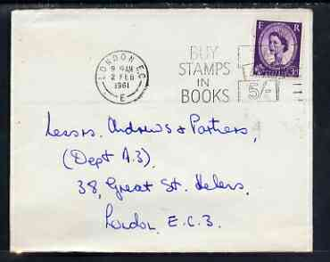 Postmark - Great Britain 1961 cover bearing illustrated slogan cancellation for 'Buy Stamps in Books'