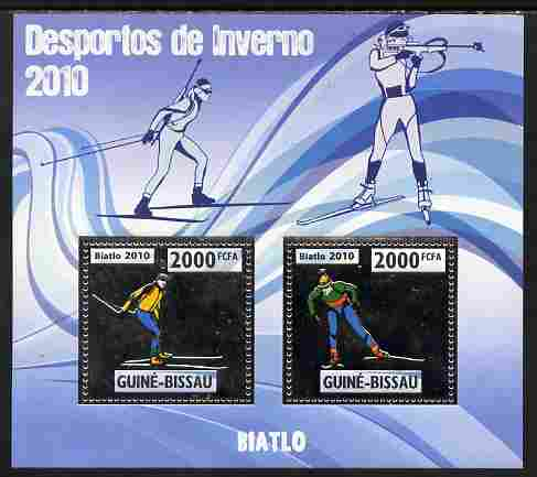 Guinea - Bissau 2010 Winter Olympic Sports - Biathlon perf sheetlet containing 2 values in silver unmounted mint