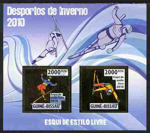 Guinea - Bissau 2010 Winter Olympic Sports - Freestyle Skiing perf sheetlet containing 2 values in gold unmounted mint