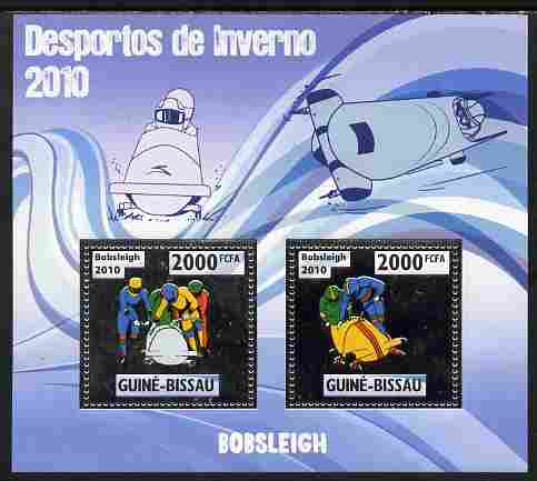 Guinea - Bissau 2010 Winter Olympic Sports - Bobsleigh perf sheetlet containing 2 values in silver unmounted mint