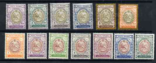 Iran 1909 Lion issue 14 values to 10kr superb unmounted mint (6ch minor wrinkles), SG 337-50