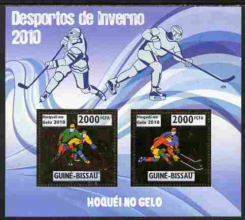 Guinea - Bissau 2010 Winter Olympic Sports - Ice Hockey perf sheetlet containing 2 values in gold unmounted mint