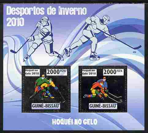 Guinea - Bissau 2010 Winter Olympic Sports - Ice Hockey perf sheetlet containing 2 values in silver unmounted mint