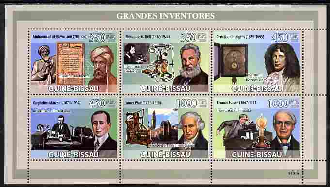 Guinea - Bissau 2009 Great Inventors perf sheetlet containing 6 values unmounted mint Yv 2886-91, Mi 4217-22