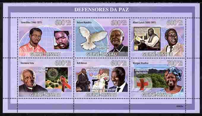 Guinea - Bissau 2009 Defenders of Peace perf sheetlet containing 6 values unmounted mint Yv 2892-97, Mi 4265-70