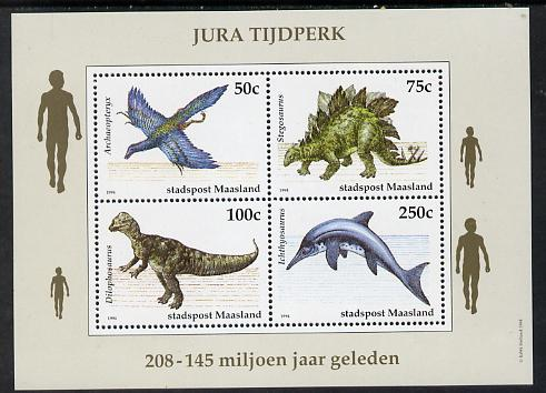 Netherlands - Maasland (Local) 1994 Dinosaurs perf sheetlet of 4 values unmounted mint