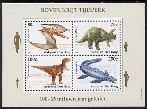 Netherlands - Den Haag (Local) 1994 Dinosaurs perf sheetlet of 4 values unmounted mint