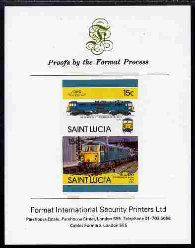 St Lucia 1986 Locomotives #5 (Leaders of the World) 15c Stephenson Electric Loco se-tenant pair imperf mounted on Format International proof card
