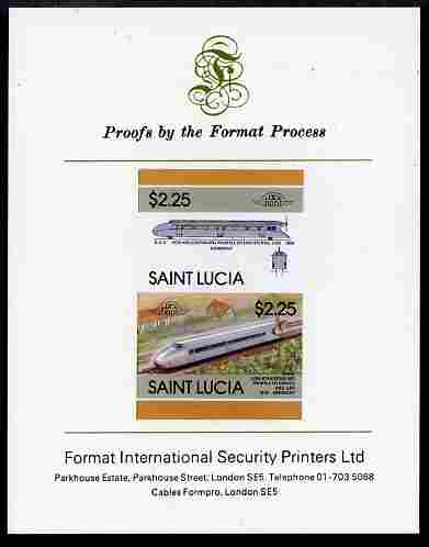 St Lucia 1986 Locomotives #5 (Leaders of the World) $2.25 Von Kruckenburg Rail Car se-tenant pair imperf mounted on Format International proof card
