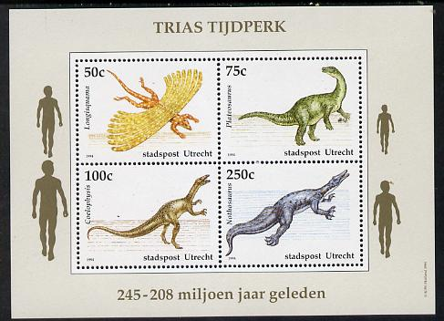 Netherlands - Utrecht (Local) 1994 Dinosaurs perf sheetlet of 4 values unmounted mint