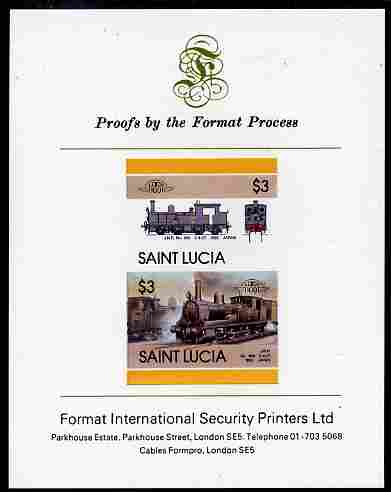 St Lucia 1986 Locomotives #5 (Leaders of the World) $3 2-4-2T JNR No.860 se-tenant pair imperf mounted on Format International proof card