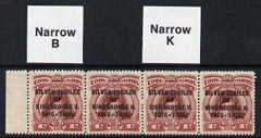 Cook Islands 1935 KG5 Silver Jubilee 1d (Capt Cook) red-brown & purple-lake shade unmounted mint strip of 4 incl Narrow 'K' and Narrow 'B' varieties, SG 113/a/bvar