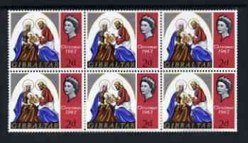 Gibraltar 1967 Christmas 2d unmounted mint plate block of 6, one stamp with 'Bracelet Flaw' SG 217 V17
