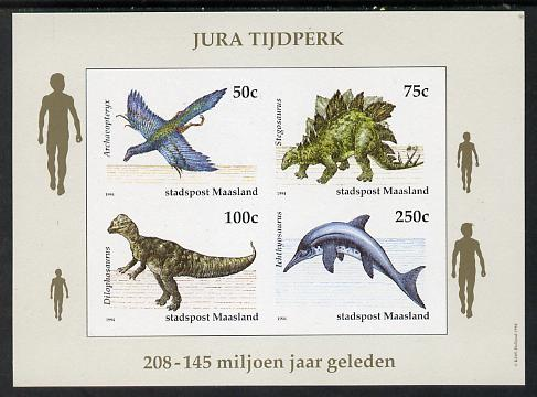 Netherlands - Maasland (Local) 1994 Dinosaurs imperf sheetlet of 4 values unmounted mint