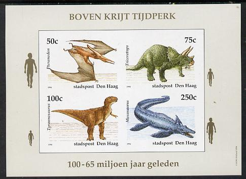 Netherlands - Den Haag (Local) 1994 Dinosaurs imperf sheetlet of 4 values unmounted mint