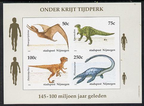 Netherlands - Nijmegen (Local) 1994 Dinosaurs imperf sheetlet of 4 values unmounted mint