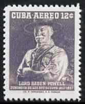 Cuba 1957 Lord Baden Powell 12c  'Maryland' perf 'unused' forgery, as SG 804 - the word Forgery is either handstamped or printed on the back and comes on a presentation card with descriptive notes