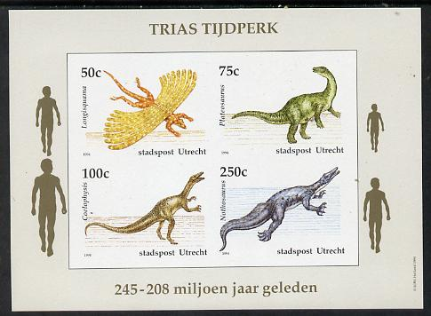 Netherlands - Utrecht (Local) 1994 Dinosaurs imperf sheetlet of 4 values unmounted mint
