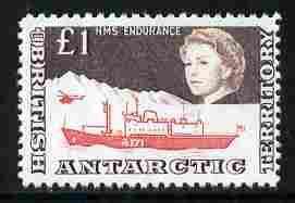 British Antarctic Territory 1963-69 HMS Endurance �1 (from def set)  'Maryland' perf 'unused' forgery, as SG 15a - the word Forgery is either handstamped or printed on the back and comes on a presentation card with descriptive notes, stamps on maryland, stamps on forgery, stamps on forgeries, stamps on