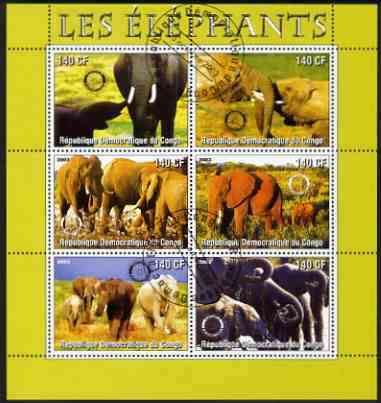 Congo 2003 Elephants perf sheetlet #01 (green border) containing 6 x 140 CF values each with Rotary Logo, fine cto used