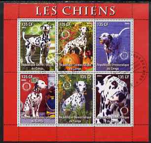 Congo 2003 Dogs (Dalmations) perf sheetlet #02 (red border) containing 6 values each with Rotary Logo, fine cto used