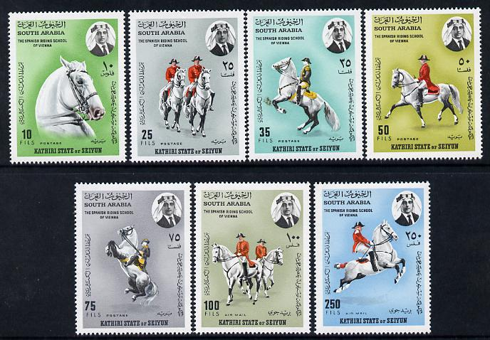 Aden - Kathiri 1967 Spanish Horse Riding School perf set of 7 unmounted mint, Mi 150-6A, stamps on animals     horse, stamps on horses