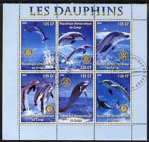Congo 2003 Dolphins perf sheetlet #01 (vert stamps) containing 6 values each with Rotary Logo, fine cto used