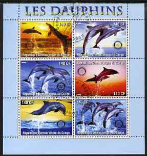 Congo 2003 Dolphins perf sheetlet #02 (horiz stamps) containing 6 values each with Rotary Logo, fine cto used