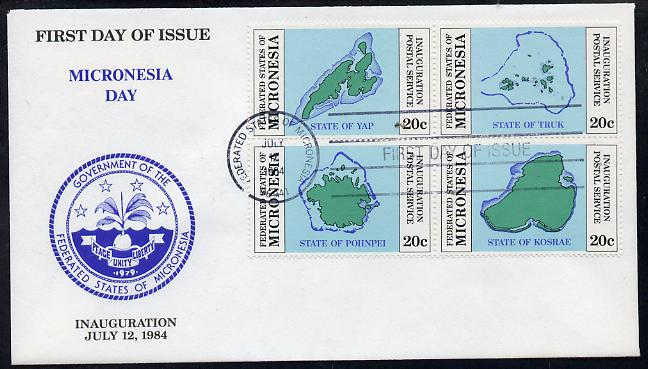Micronesia 1984 Postal Independence se-tenant set of 4 Maps on first day cover (SG 1a), stamps on maps  postal