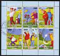 Congo 2003 Comic Golf perf sheetlet containing 6 x 120 cf values each with Rotary Logo, fine cto used