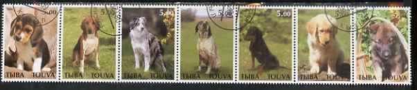 Touva 2000 Dogs perf set of 7 values complete fine cto used
