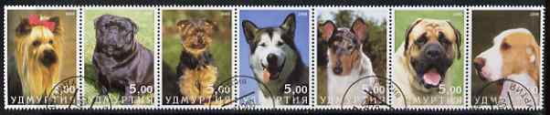 Udmurtia Republic 2000 Dogs perf set of 7 values complete fine cto used , stamps on dogs, stamps on