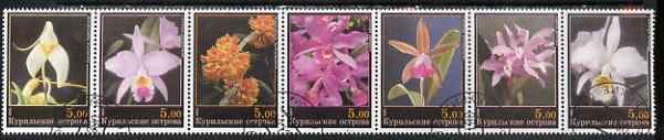 Kuril Islands 2000 Orchids perf set of 7 values complete fine cto used, stamps on flowers, stamps on orchids