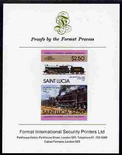 St Lucia 1985 Locomotives #4 (Leaders of the World) $2.50 'Big Bertha 0-10-0' se-tenant pair imperf mounted on Format International proof card