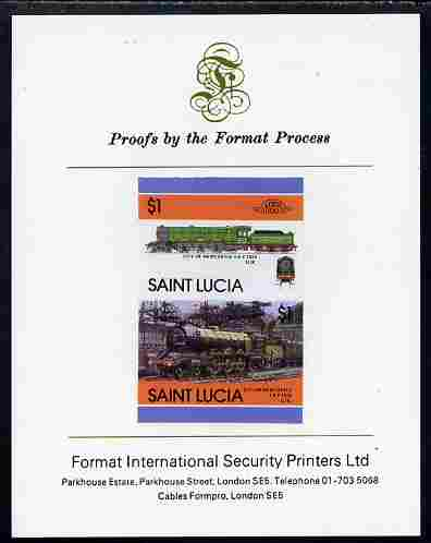 St Lucia 1986 Locomotives #5 (Leaders of the World) $1 4-6-2 City of Newcastle se-tenant pair imperf mounted on Format International proof card