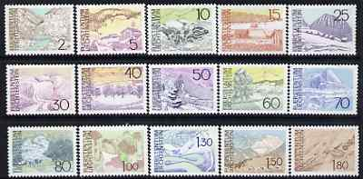 Liechtenstein 1972 Landscapes perf set of 15 unmounted mint, SG 561-75