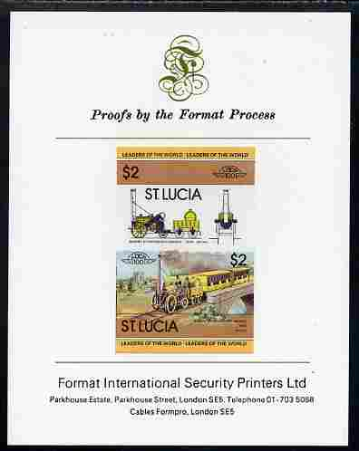 St Lucia 1983 Locomotives #1 (Leaders of the World) $2 Stephenson's Rocket se-tenant pair imperf mounted on Format International proof card