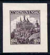Czechoslovakia 1936 Die Proof of 1k60 St Barbara's Church in purple on wove paper, as SG 355a