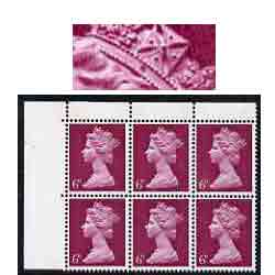 Great Britain 1967-70 Machins 6d unmounted mint corner block of 6 with variety 'dark flaw on band of diadem (R2/3 cyl 3)