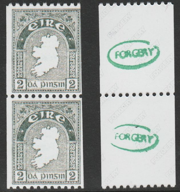Ireland 1922-34 Map 2d perf x imperf experimental coil pair