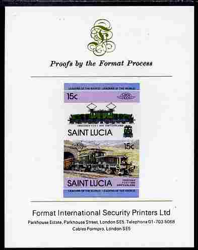 St Lucia 1984 Locomotives #2 (Leaders of the World) 15c 'Crocodile type 1CC1 Switzerland' se-tenant pair imperf mounted on Format International proof card