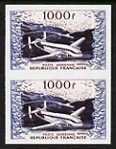 France 1954 Air - Provence Transport Plane 1000f  'Maryland' imperf pair 'unused' forgery, as SG 1197 - the word Forgery is either handstamped or printed on the back and comes on a presentation card with descriptive notes