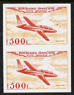 France 1954 Air - Magister 500f  'Maryland' imperf pair 'unused' forgery, as SG 1196 - the word Forgery is either handstamped or printed on the back and comes on a presentation card with descriptive notes